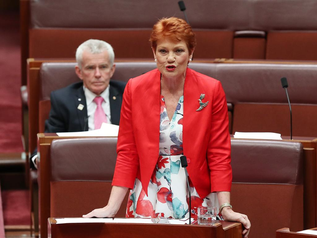 Senator Pauline Hanson in the Senate Chamber. Picture: Kym Smith
