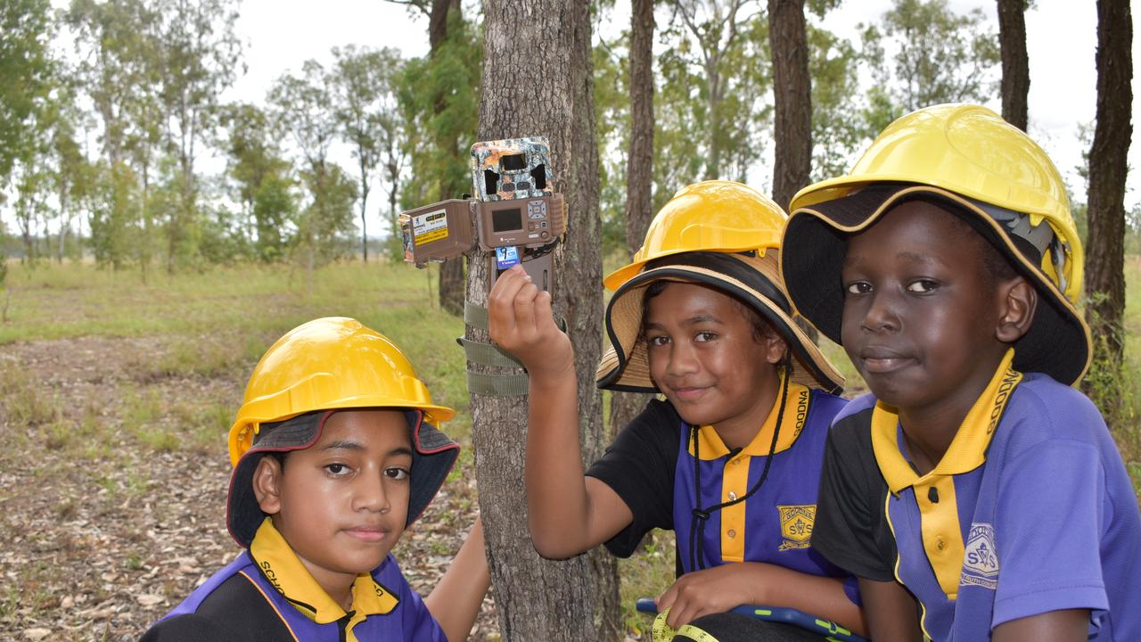 Caleb, Reggae-Jean and Akoiy from Goodna State School at the Mutdapilly koala offset project site.