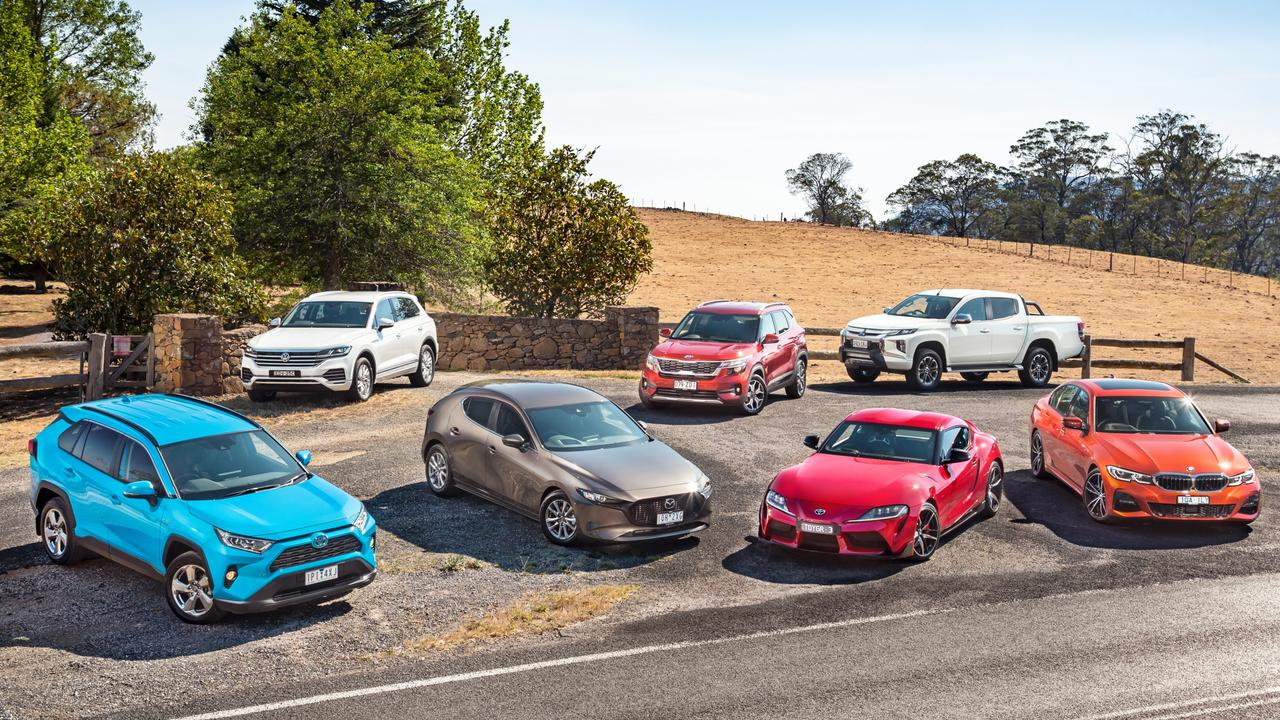 Seven category winners made the finals: (clockwise from front left) Toyota RAV4 Hybrid, Volkswagen Touareg, Kia Seltos, Mitsubishi Triton, BMW 330i, Toyota Supra and Mazda3.