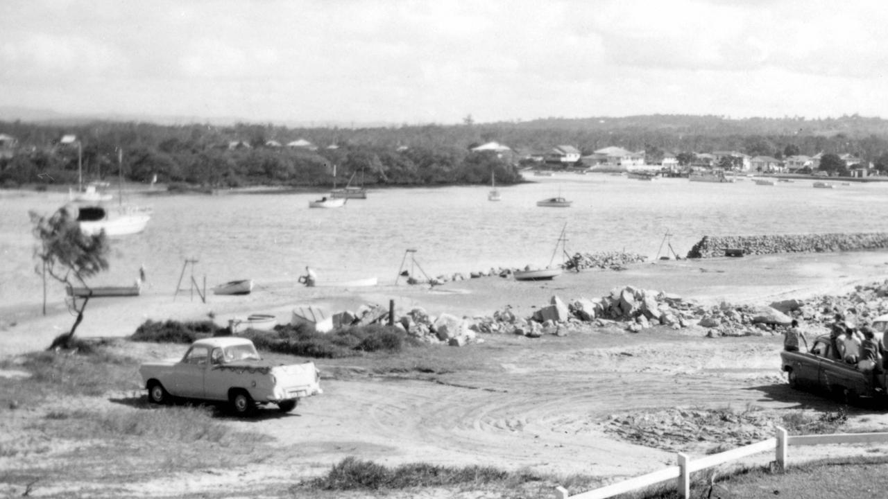 Mooloolah River looking upstream towards River Esplanade from the river bank adjoining Parkyn Parade, 1955. Taken from the Pacey family property. Before the construction of a road along Parkyn Parade, blocks of land on the Mooloolaba Spit were accessed by travelling either along the foreshore or river bank at low tide. Picture: Contributed