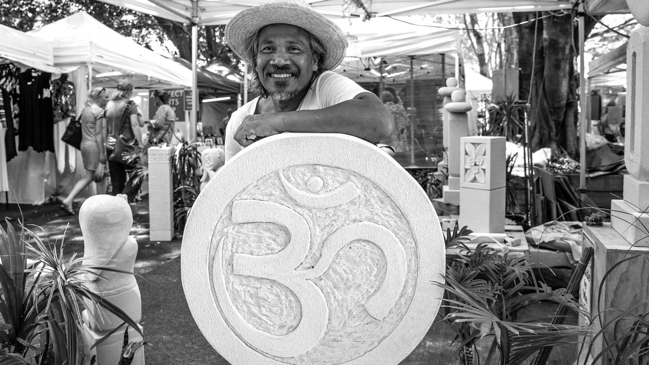 Imron Abdul makes outdoor sculptures and sells them at the Original Eumundi Markets. Picture: Jodie Modric Photography