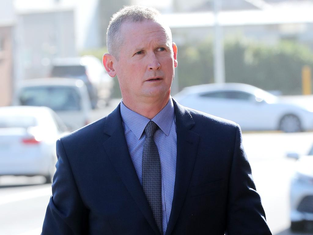 Senior Constable Will Flynn arrives at court during the inquest.
