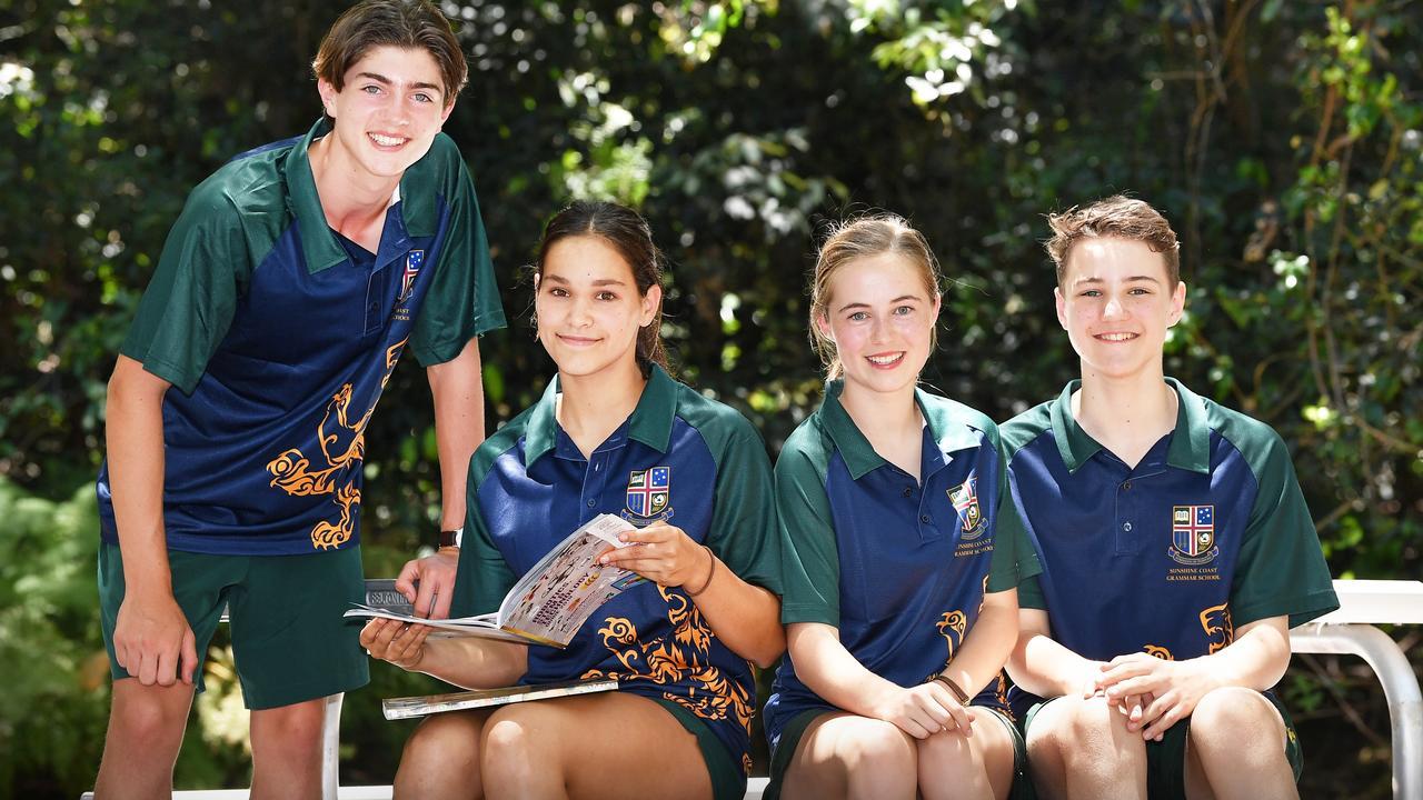 Sunshine Coast Grammar students, Fynn Van Den Brenk, Agen Collen, Grace Wilson-Smith sand Geordie Marsh. Photo: Patrick Woods / Sunshine Coast Daily.