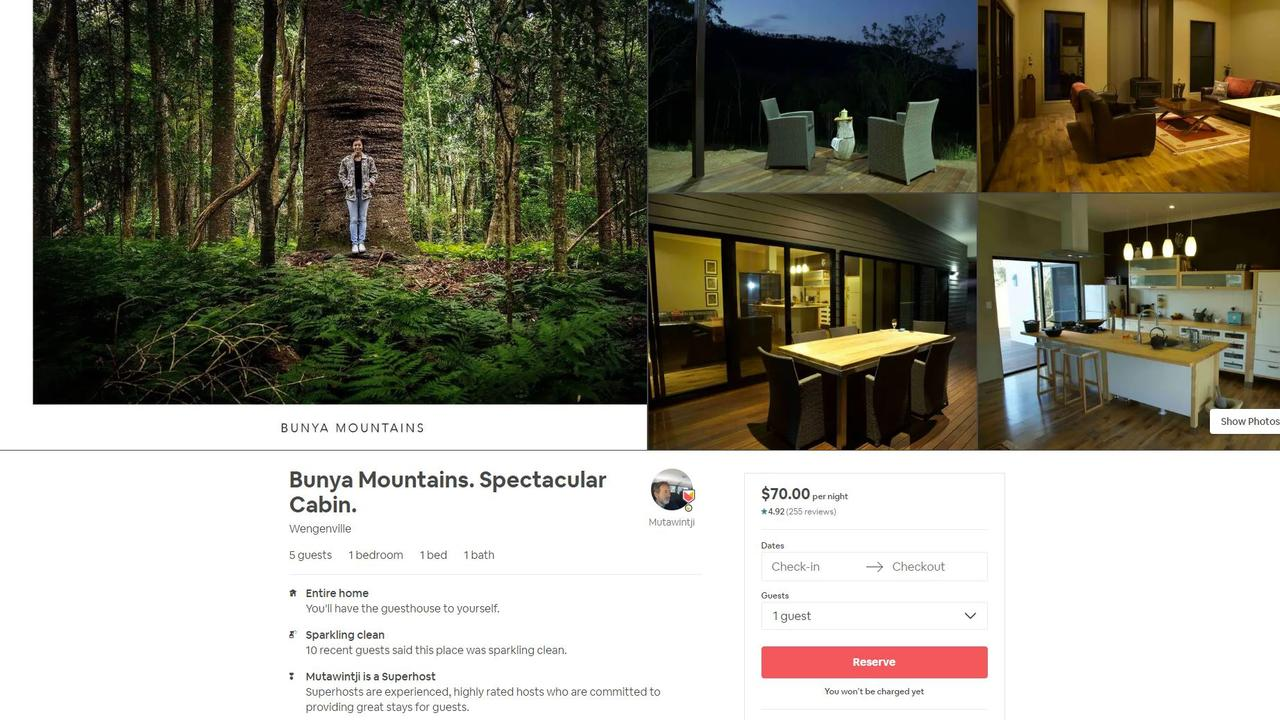 Spectacular Cabin, situated in Bunyas, has a rating of 4.92 stars on Airbnb.