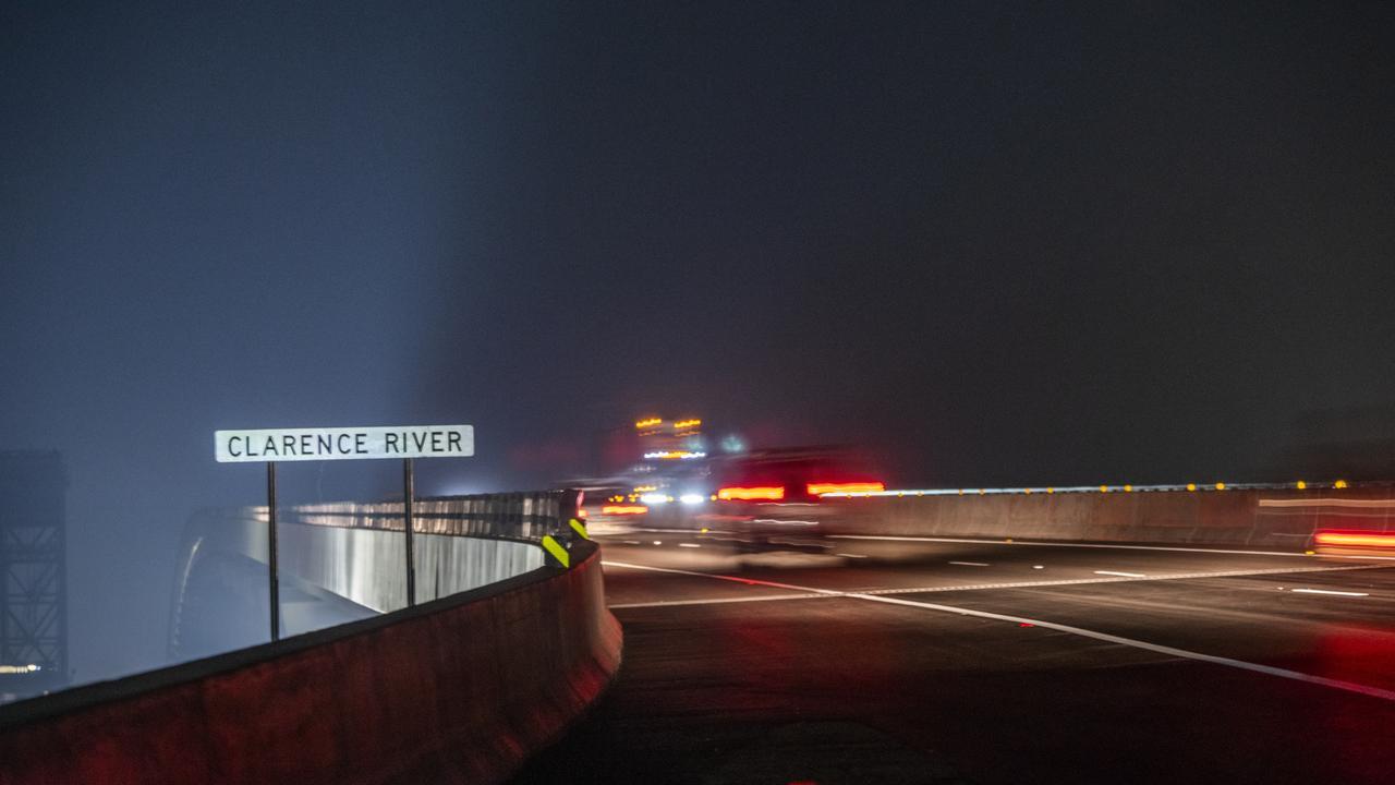 The first vehicles travel across the new Harwood bridge. Photo: Simon Hughes