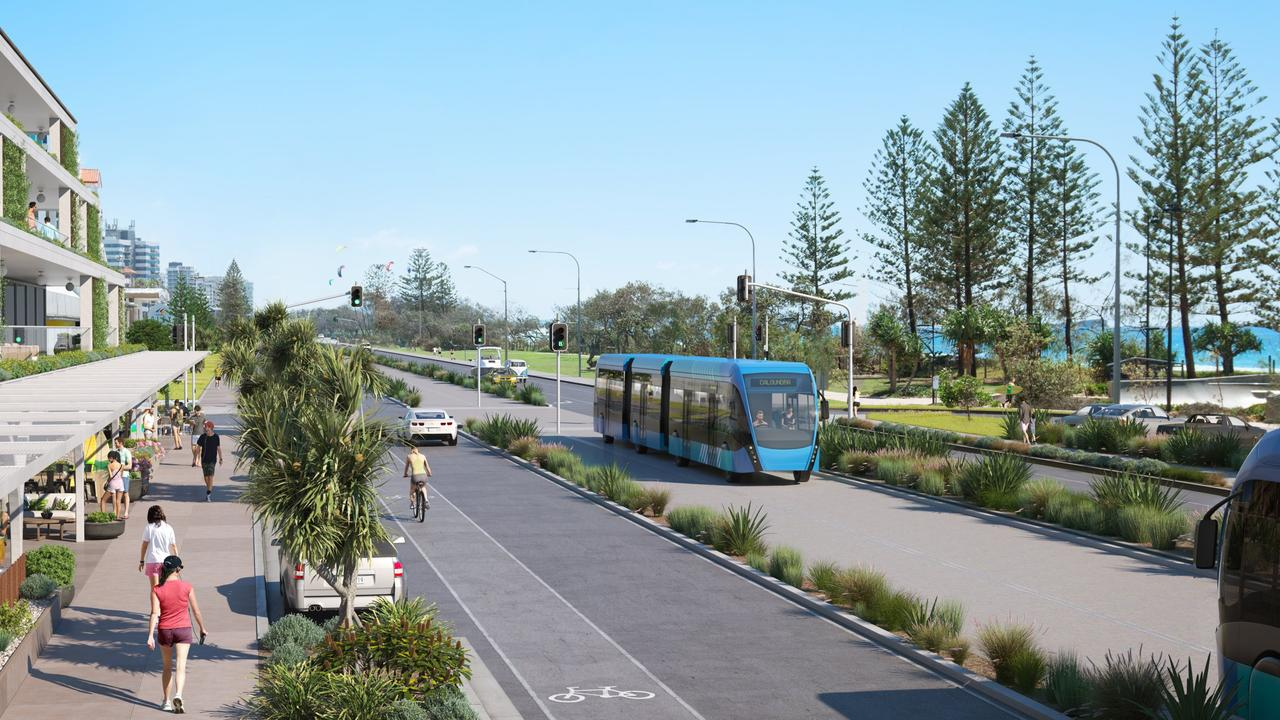 VISION: Artist's impressions of a trambus going over Alexandra Headland.