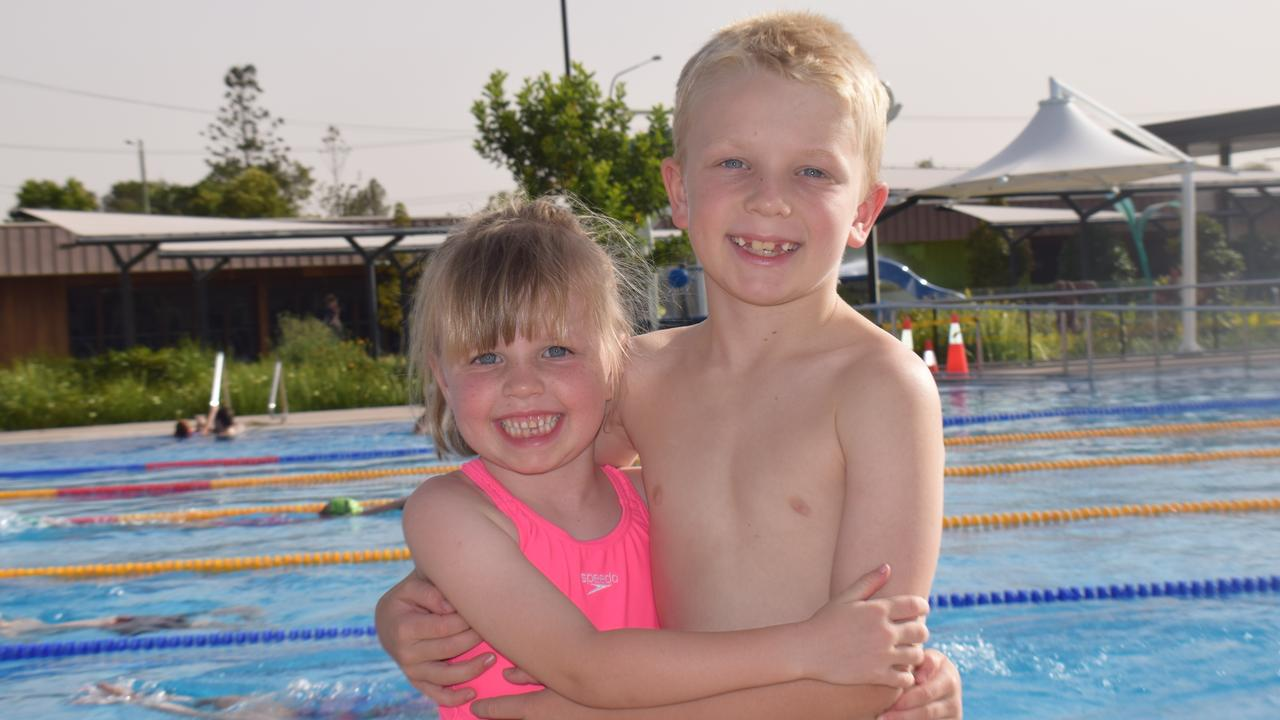 Swimming - Gympie Gold Fins members Immi and Flynn Adriaans prepare to make a big splash in the pool.