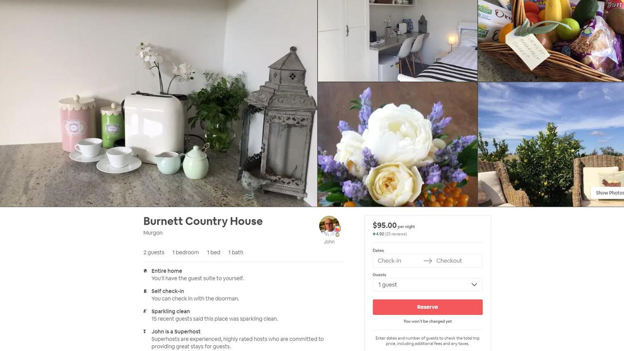 Burnett Country House in Murgon has a rating of 4.92 stars on Airbnb.
