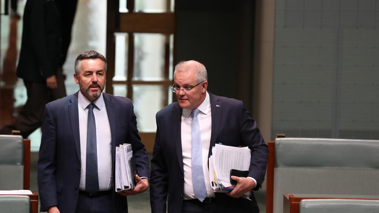 Minister for Veterans Affairs Darren Chester with PM Scott Morrison at Parliament House in Canberra. Picture Kym Smith