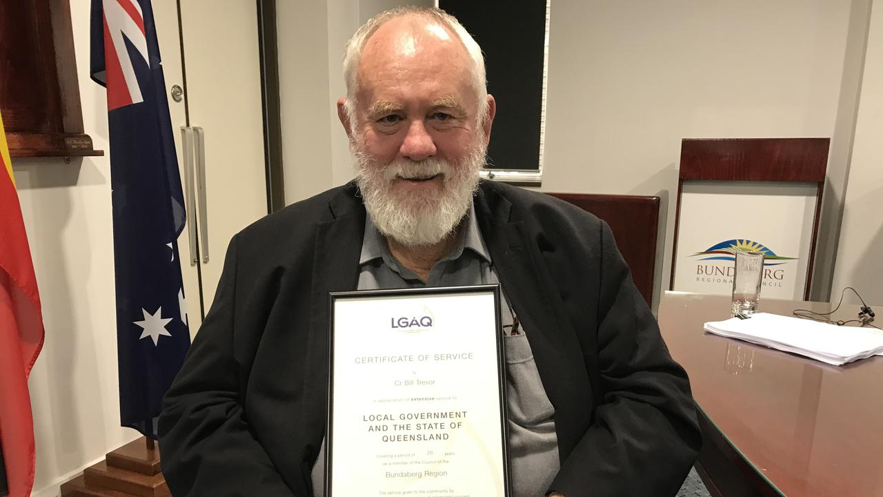 Deputy mayor Bill Trevor with an LGAQ award he recently received for his years of serving local government.