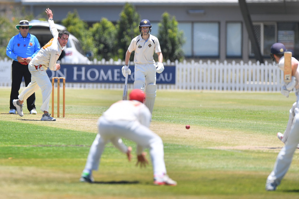 Image for sale: Cricket action between the Scorchers and Norths. Ash Renouf dends one down. Photo: John McCutcheon / Sunshine Coast Daily