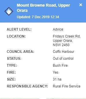A bushfire has broken out in the Upper Orara area.