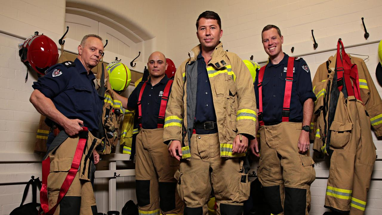 Pride of Australia finalists firefighters Mike Stuart, Gonzalo Herrera, Mitch Bennetts and Bennett Gardiner at their fire station in Drummoyne. Picture: Adam Yip