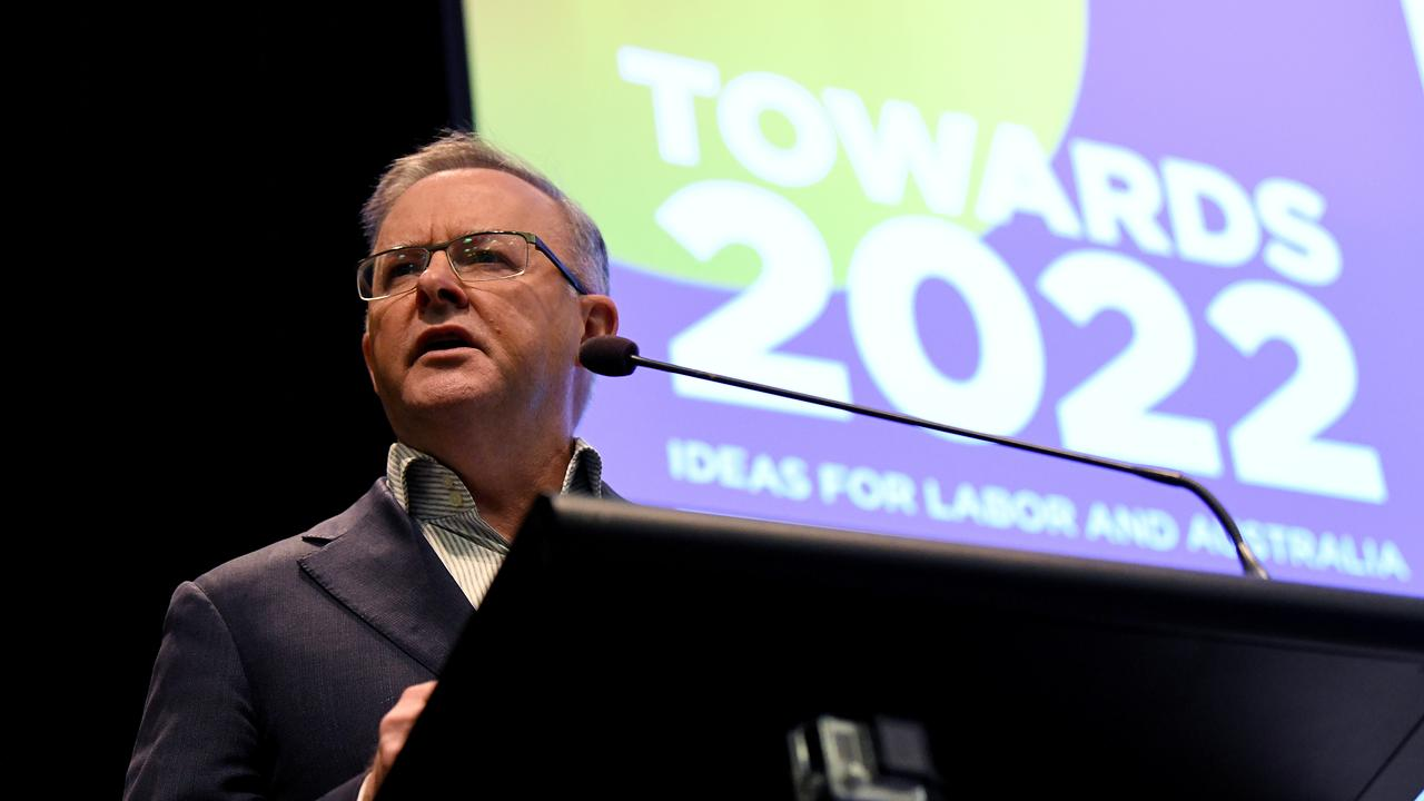 Australian Opposition Leader Anthony Albanese speaks during the