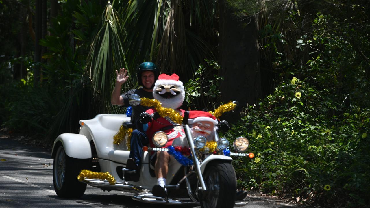 Bikes riding through the Tondoon Botanic Gardens as part of the Ulysses Club annual Toy Run on December 7.