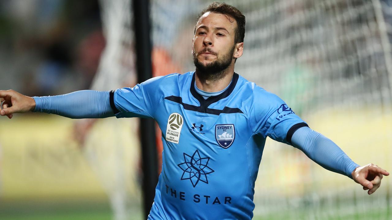 Sydney FC striker Adam Le Fondre scored a hat-trick against Brisbane. Picture: Getty Images