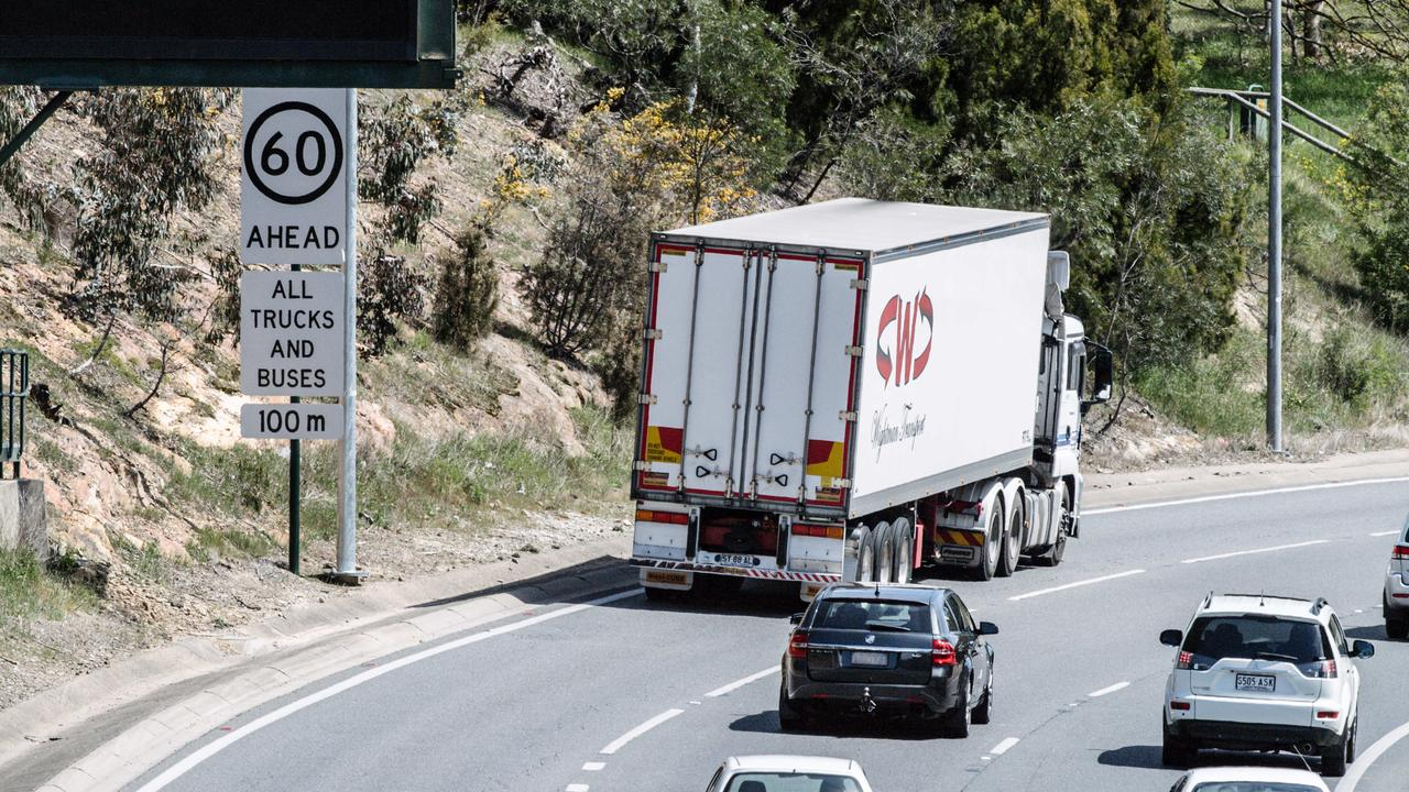 A truck heads down the South-Eastern Freeway towards the city. Picture: AAP / Morgan Sette