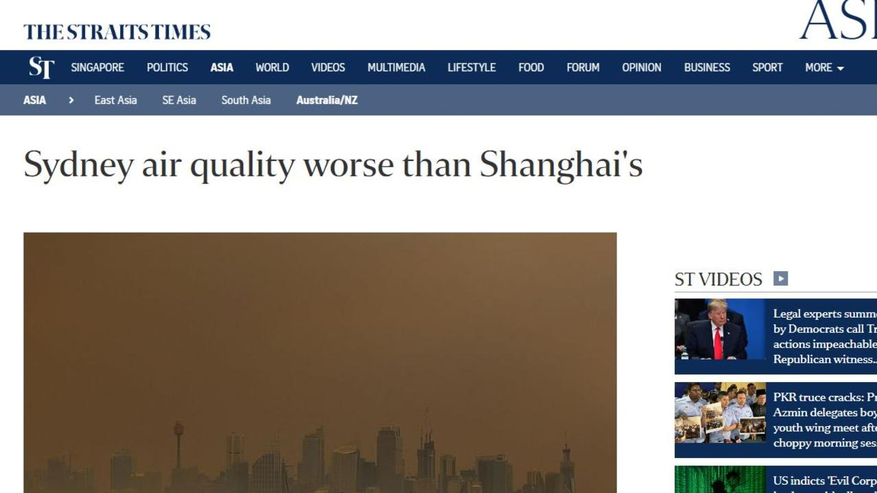 The Straits Times has compared Sydney's air quality to Shanghai's.