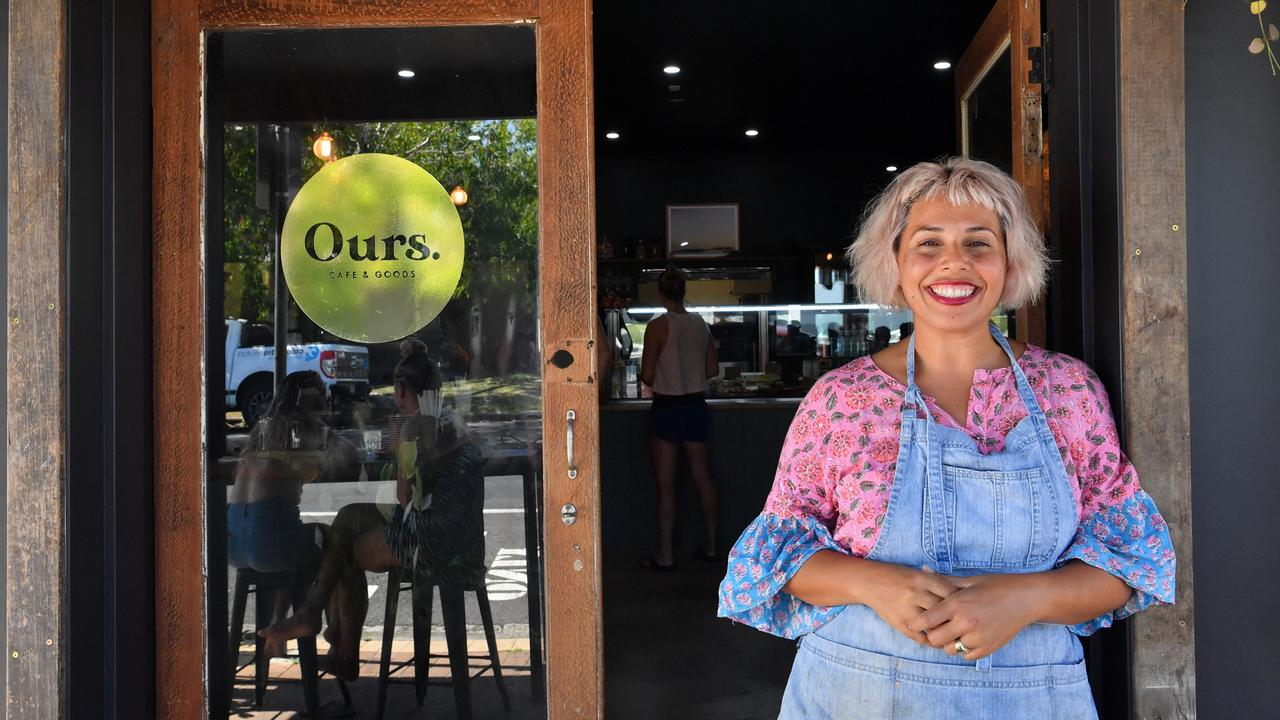 AWESOME: Ours Cafe owner Esther Newman celebrates her new venture in Moffat Beach. Photo: John McCutcheon / Sunshine Coast Daily