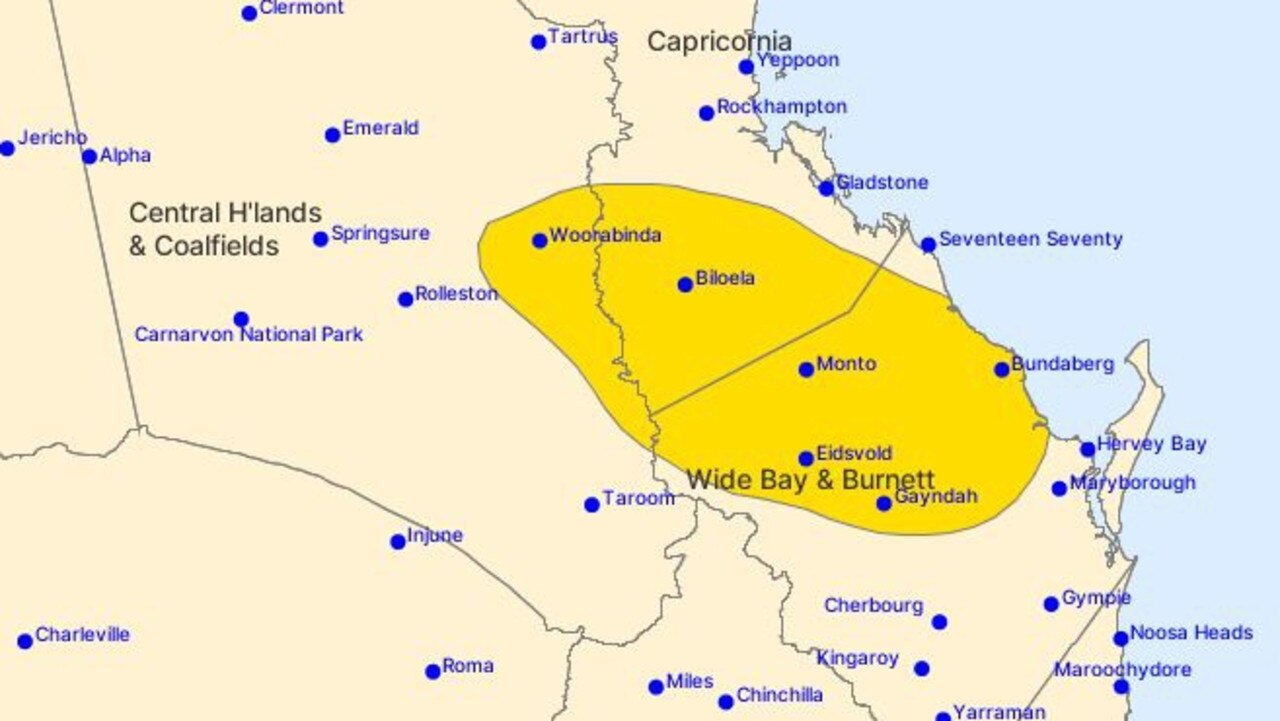 WEATHER WARNING: A severe weather warning has been predicted for parts of the North Burnett. Picture: Bureau of Meteorology.
