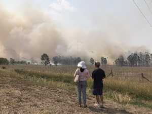 Fireworks explode during fierce bushfire