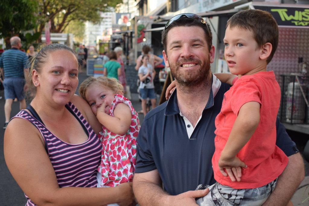 Image for sale: Carla Drew, with Sophia, Hilton and Carter Mooney at Rockhampton's CBD Traders Xmas Fair