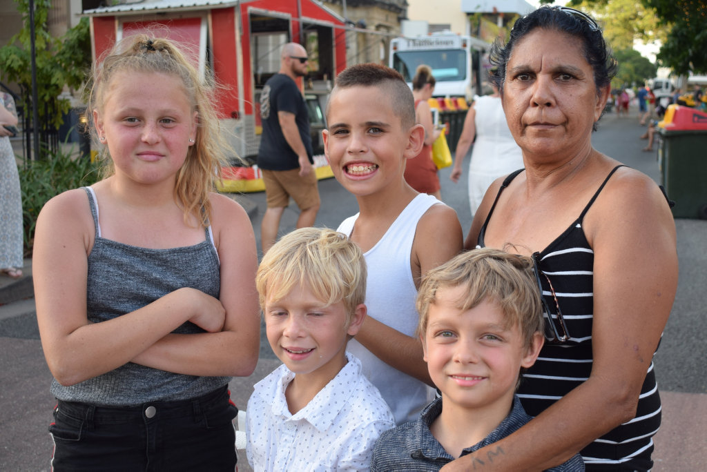 Image for sale: Allira Waldon, with Jahleal, Eli and Charmaine Anderson, and Jahlett Walden at Rockhampton's CBD Traders Xmas Fair