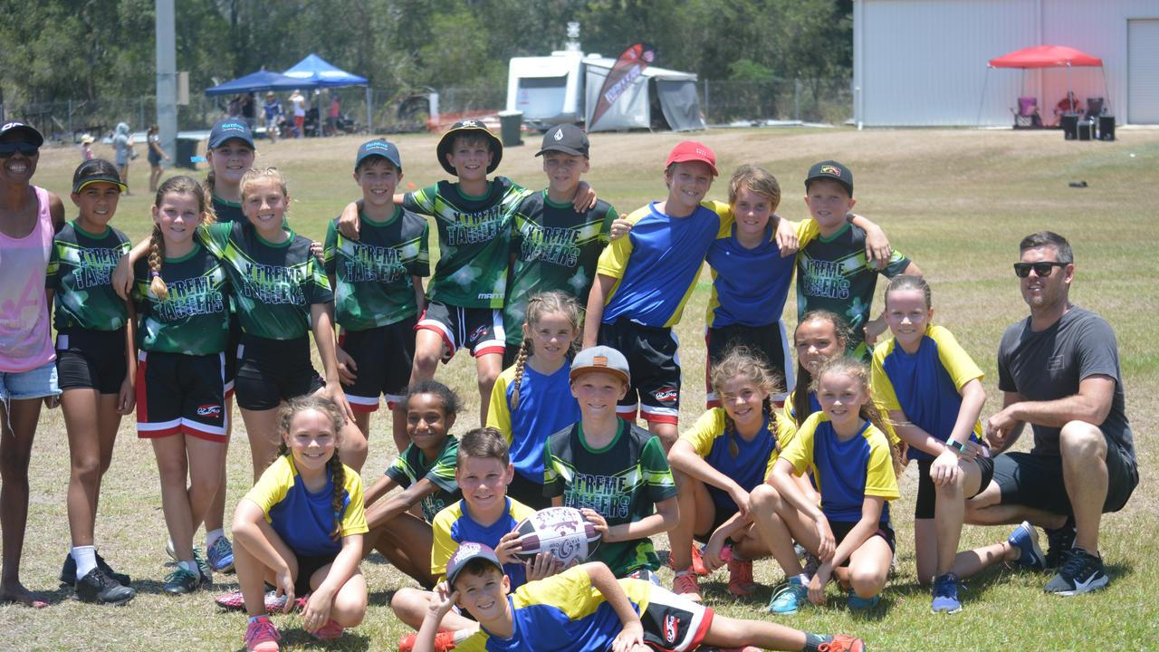 OZTAG U12 GRAND FINAL - Xtrene Taggers (green) v Star Stealers: Both teams get together with coaches. PIC: Nick Kossatch