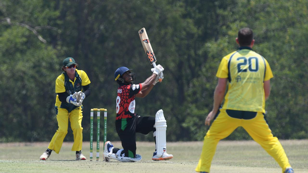 South East Redback Poorna Chauka hits Michael Hillier for six during the Baxter Big Bash. Photo: Rob Williams