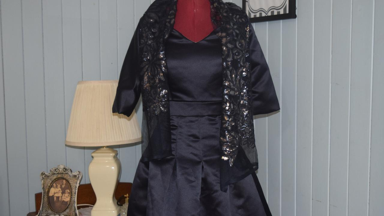 A navy blue dress designed by soon-to-be Year 12 design student Lily Christmas.
