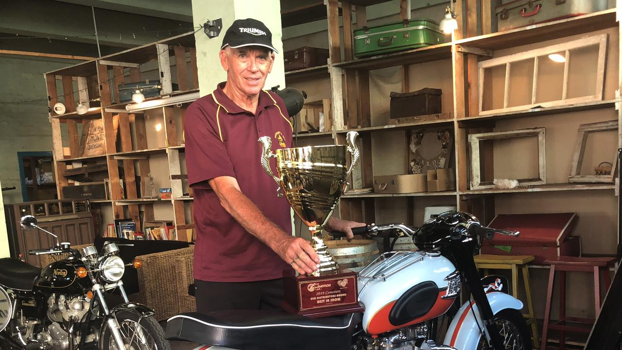Graham Nedwich and his award-wining 1959 Bonneville at the Old Bikes Show in Rockhampton