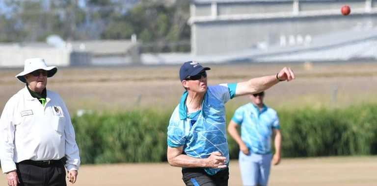 Jason Jefferies bowls for Gladstone invitational at the Mal Carlyon big day out fundraiser cricket match at the Clinton Field on Saturday December 7.