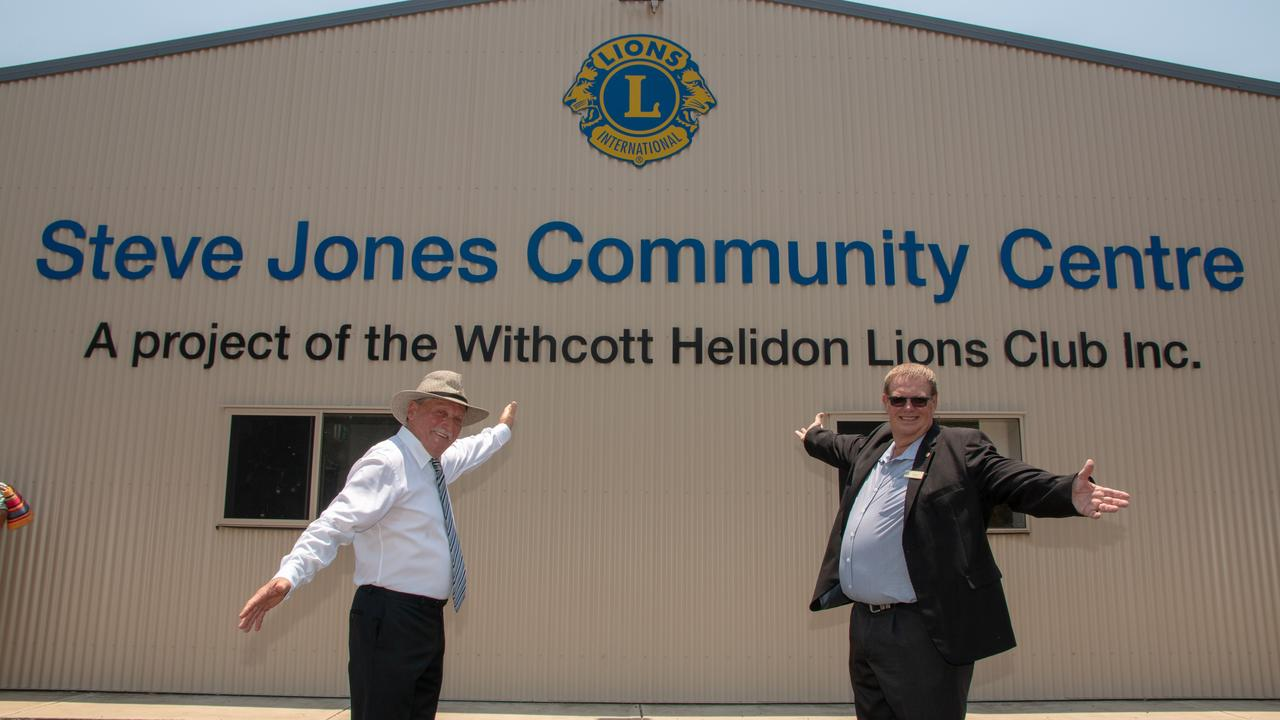 OPENING DAY: Withcott-Helidon Lions' project co-ordinator Mark Lavender and president Bruce Horrocks at the Official opening of the Steve Jones Community Centre. Picture: Dominic Elsome