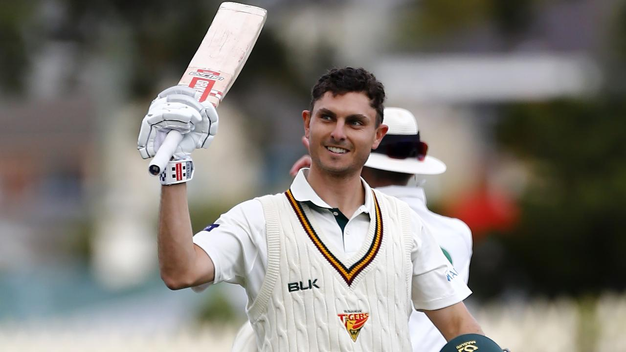 TAS batsman Simon Milenko century on day 1 of the Sheffield Shield match between Tasmania and South Australia at Blundstone Arena in Hobart, Saturday, December 7, 2019. LEIGH WINBURN