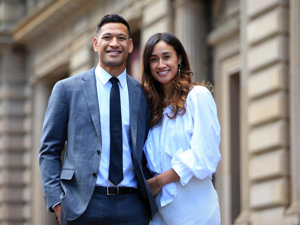 Israel Folau with his wife Maria in Melbourne on the day they settled with Rugby Australia. Picture: Aaron Francis