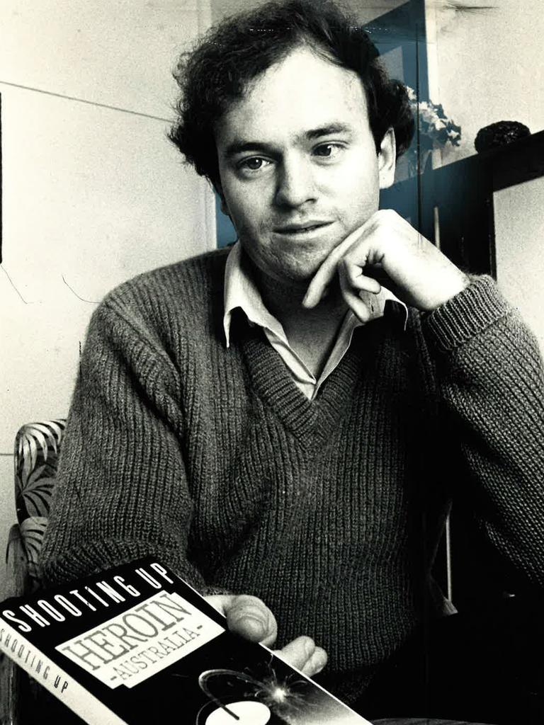 Privacy expert and author Simon Davies with one of his books in the eighties. Picture: Supplied