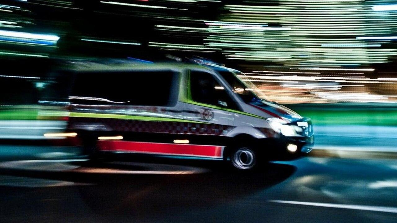 Ambulance night lights, QAS ambos paramedics stock image