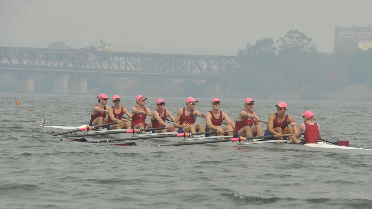 St Josephs of Sydney's championship schoolboy eight side after winning the 2000m final during the Head of the Clarence River Regatta.