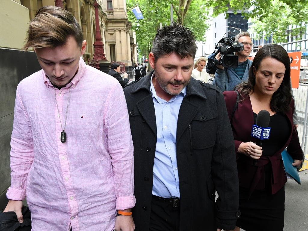 Karen Ristevski's brother Stephen Williams (centre) sat four rows in front of Sarah Ristevski in court on Friday. Picture: James Ross/AAP