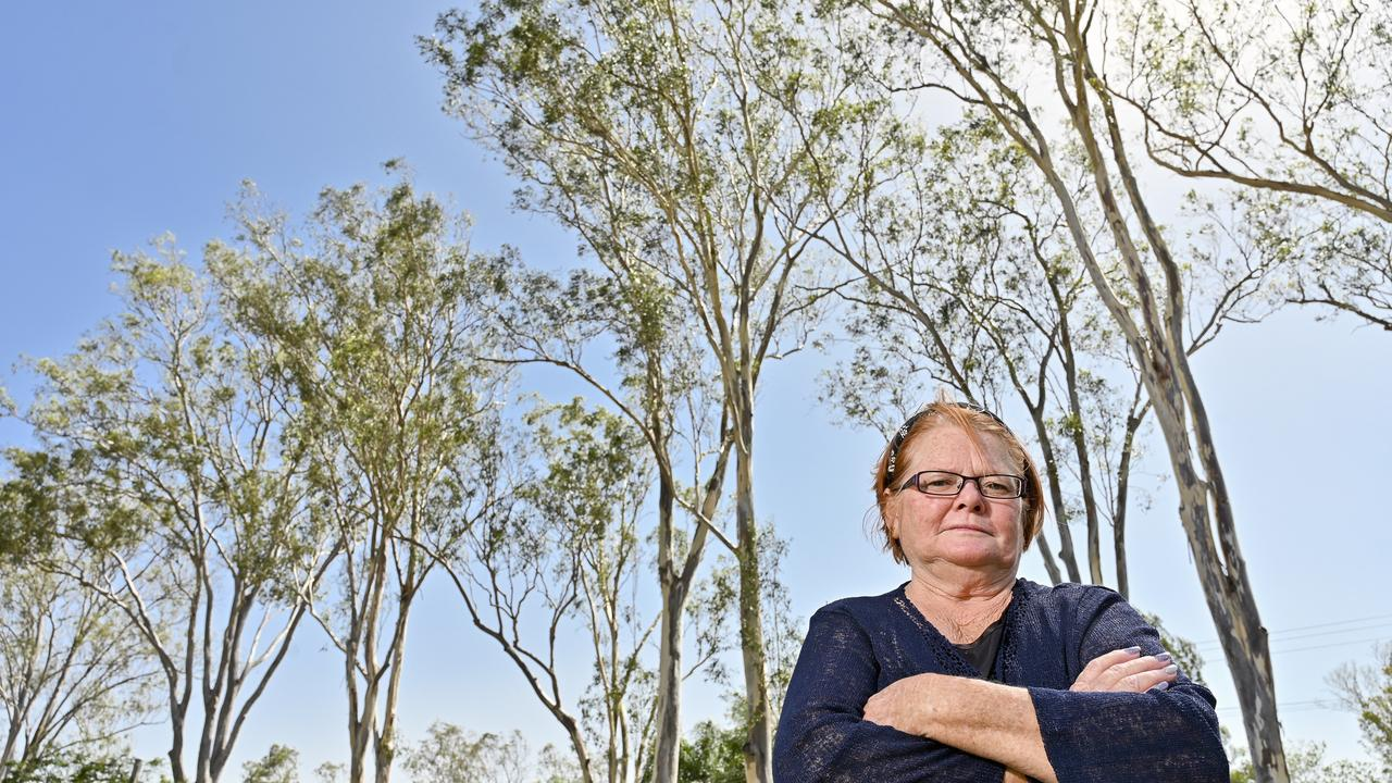 Margaret Warner of Karrabin has been in a17-year dispute over some dangerous gum trees out the front of her house. Picture: Cordell Richardson