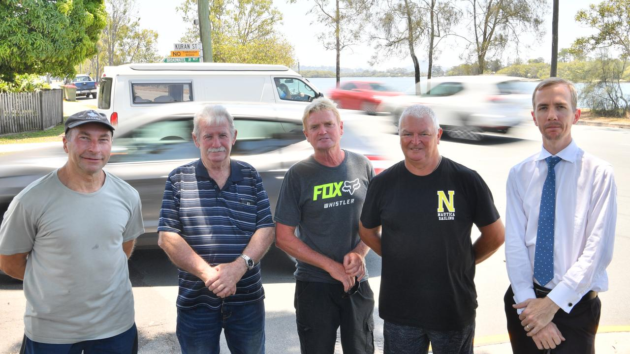 John Wardell, Tom Walsh, Michael Wood, Syd Goodenough and Chris Lumme are wanting traffic lights on the corner of Bradman Ave and Kuran St. Photo: John McCutcheon / Sunshine Coast Daily