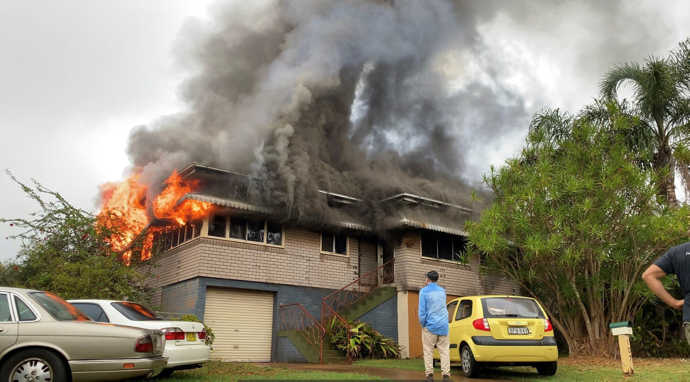 NSW Fire and Rescue were called to fire at a two-level home on Ballina Rd, near the corner of Green St in Alstonville this morning.
