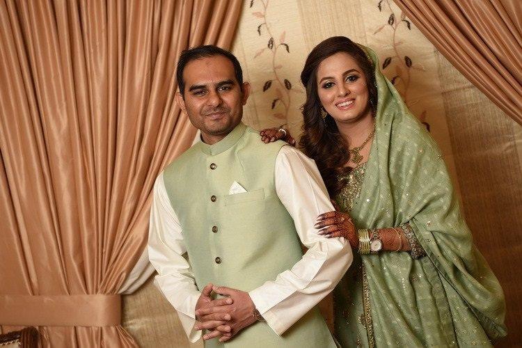 Fahad Mujeeb and Anum Bari on their wedding day in Karachi.