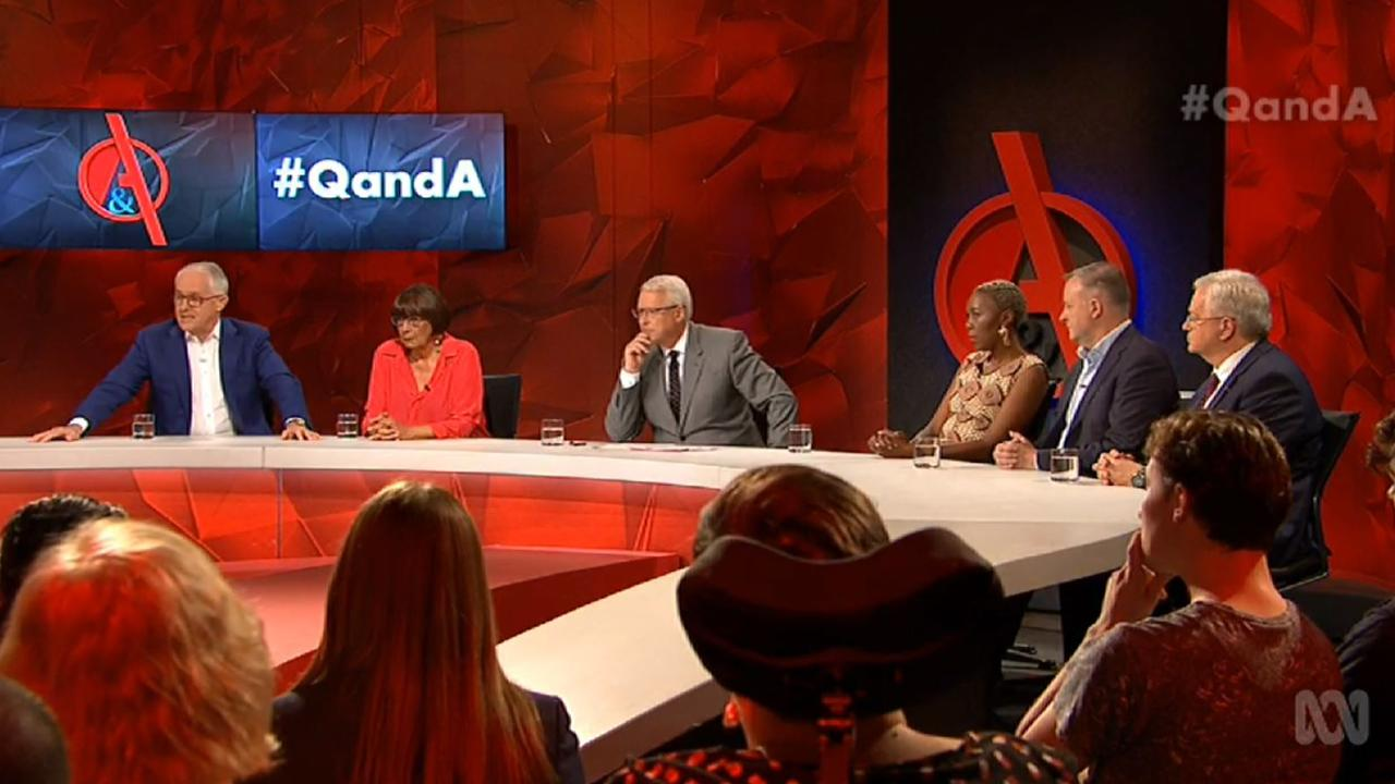 Tonight's panel of five on host Tony Jones' final Q&A. Picture: ABC