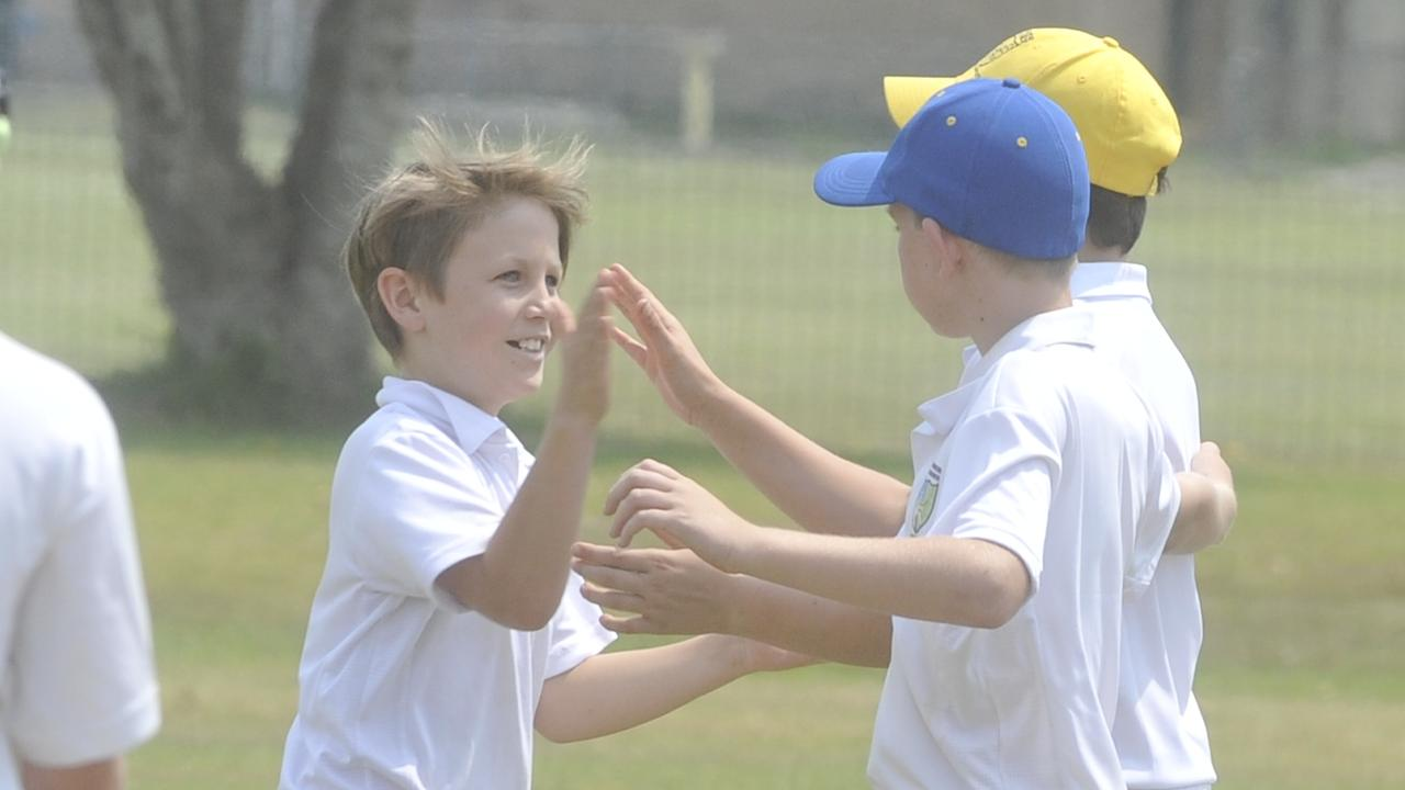 Lower celebrate a catch from Kai Brossman off a Steven Studdert ball in the under-12 Interdistrict match between Lower Clarence and Clarence River at Wherrett Park on Sunday, December 8, 2019.