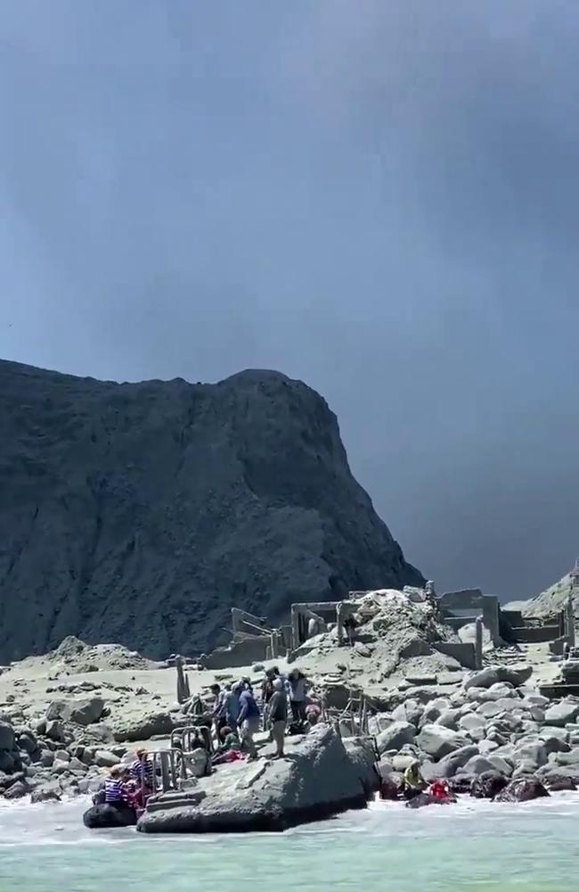 White Island volcano in New Zealand erupted today for first time since 2001. Video grabs from tourist Michael Schade who had gotten off the island only 20 minutes prior to the eruption. Picture: Michael Schade