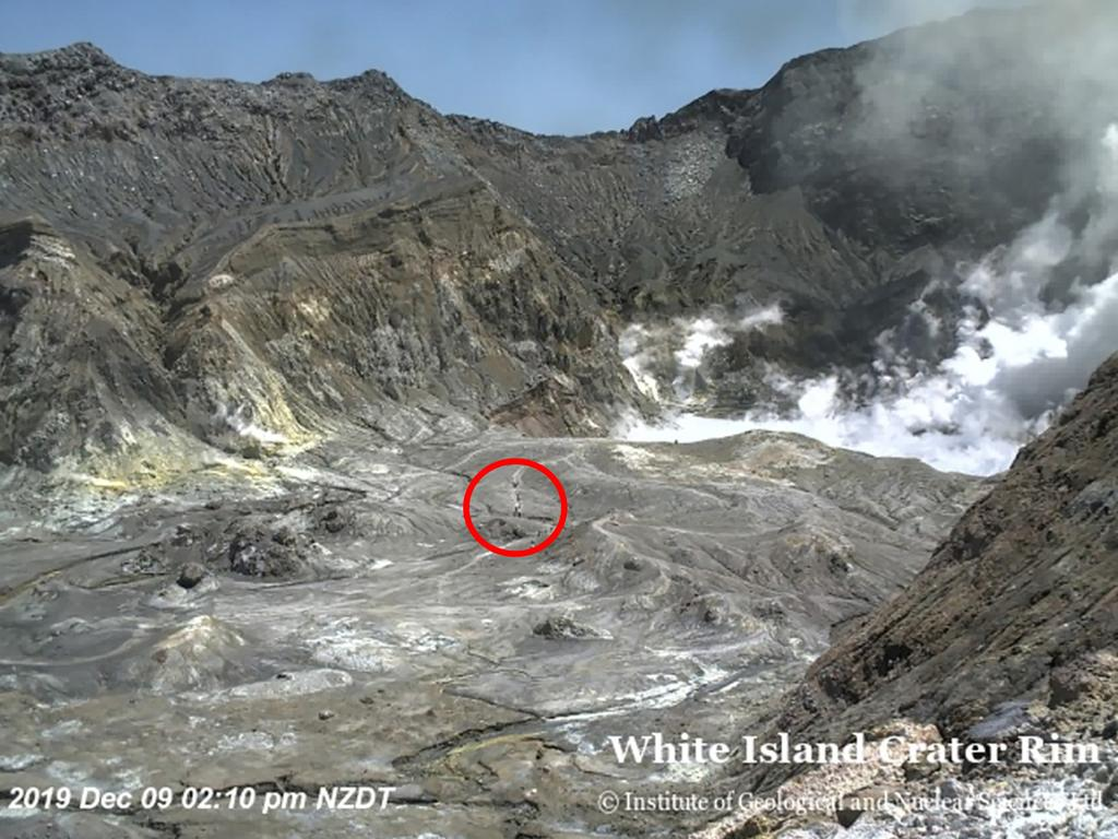 White Island active volcano: this is from Crater Rim at 2:10pm local time. People can be seen inside the craer just before the eruption Picture: GEONET
