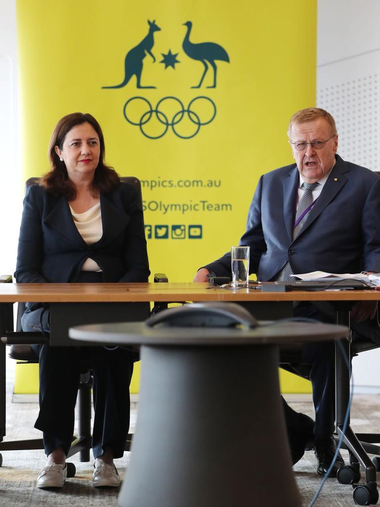 Premier Annastacia Palaszczuk meets with Australian Olympic Committee president John Coates.