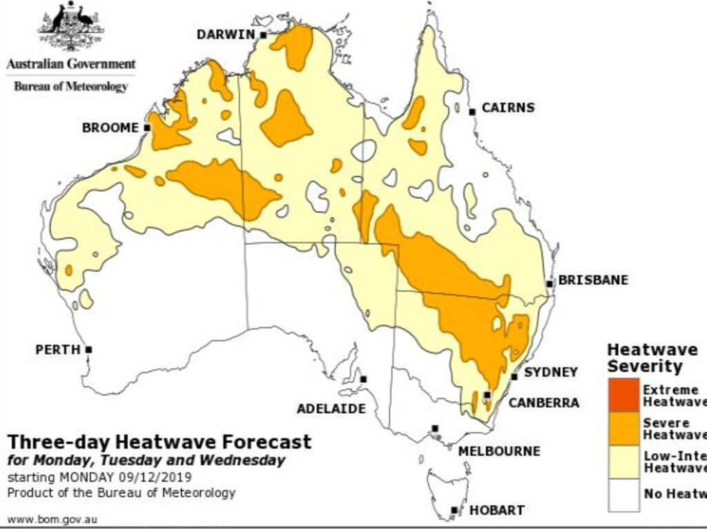 Heatwave conditions across Australia for the three-day period until Wednesday. Picture: BOM.