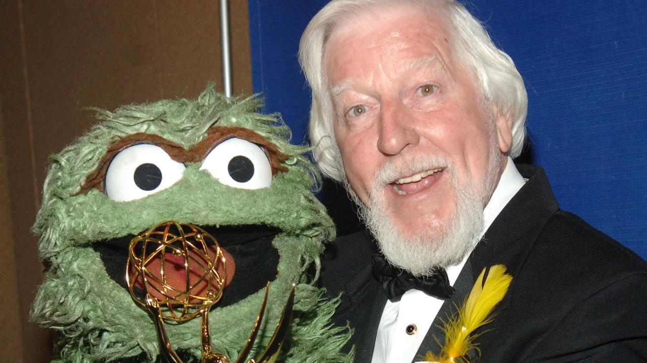 Sesame Street puppeteer Caroll Spinney with Oscar the Grouch. Picture: Getty